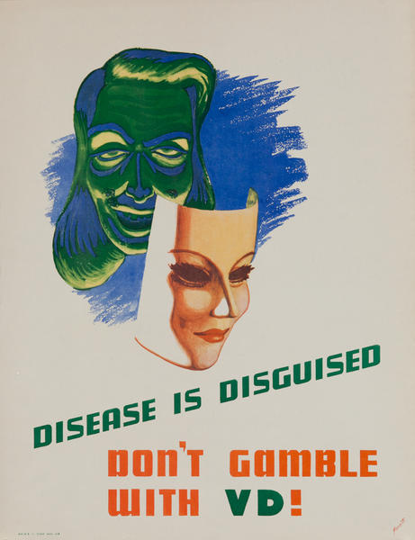 Disease is Disguised Don't Gamble WIth VD Original American Health Poster