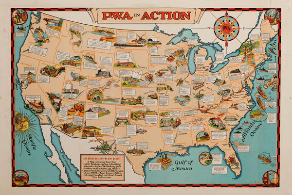 Public Works Administration Map Poster PWA in Action