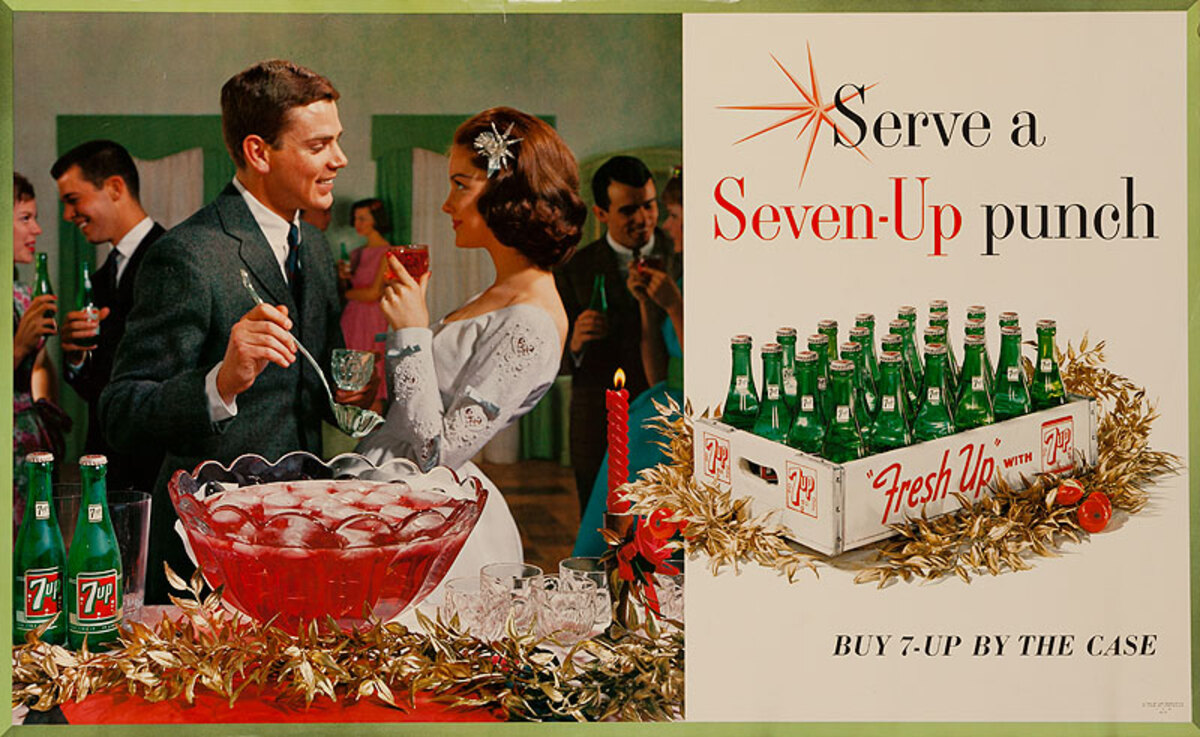 Serve A Seven-Up Punch Buy 7-Up by the Case Original American Advertising Poster