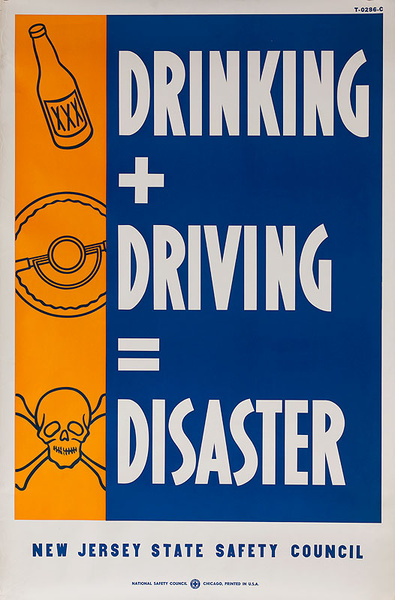 Drinking + Driving = Disaster Original New Jersey State Safety Council Poster