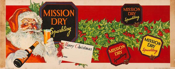 Mission Dry Orange Soda Advertising Poster Santa