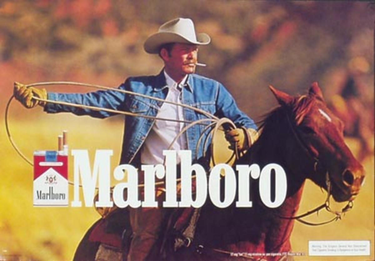Marlboro Cigarette Cowboy On Horseback Original Vintage Advertising Poster horiz