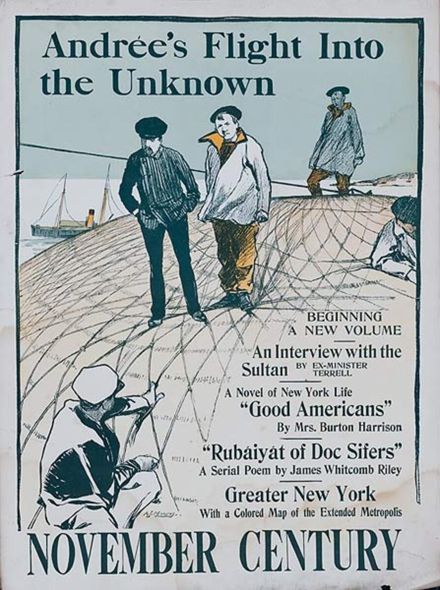November Century Andree's Flight Into the Unknown Original American Literary Poster