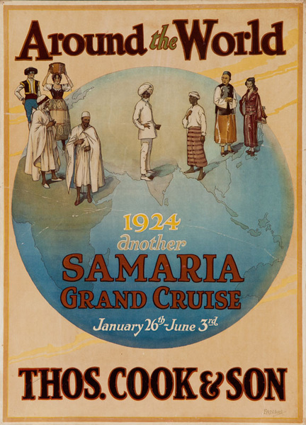 Around the World Thos. Cook & Son Original 1924 Grand Cruise Samaria Travel Poster