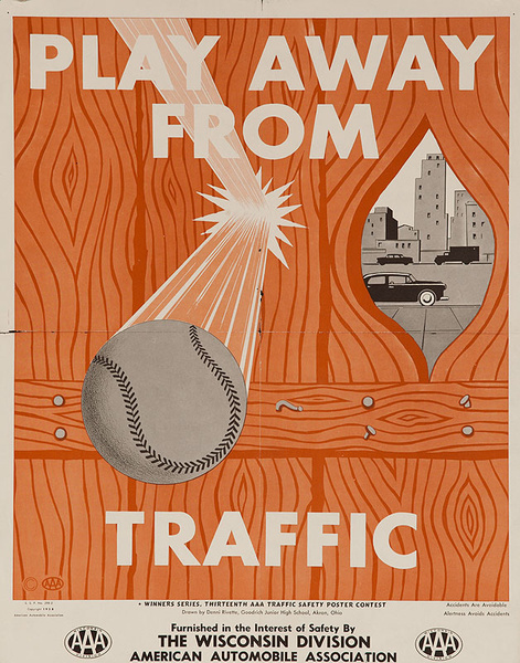 Play Away From Traffic Original AAA Safety Poster