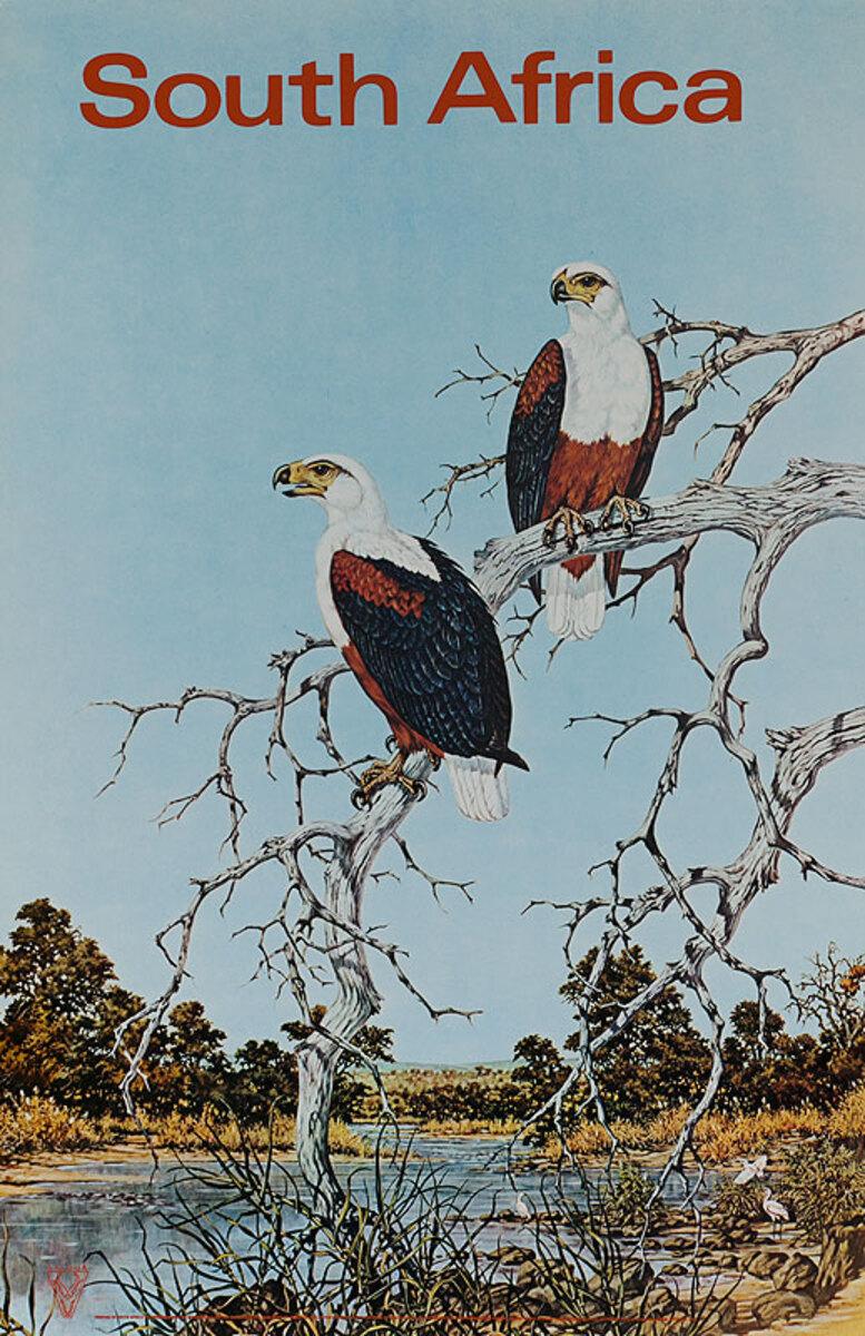 Original South Africa Travel Poster birds