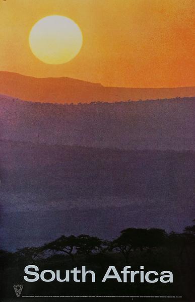 Original South Africa Travel Poster Sunset
