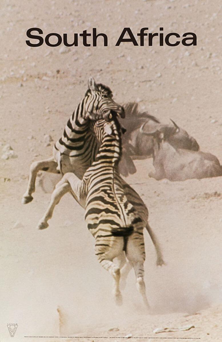 Original South Africa Travel Poster Zebras