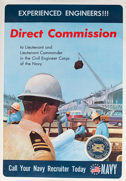 Experienced Engineers ! Direct Comission Call Your Navy Recruiter Today  Original Viet Nam War Recruitig Poster
