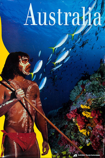 Australia Original Travel Poster Reef Fish and Aborigine