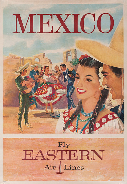 Mexico Fly Eastern Airlines Original Travel Poster dancers