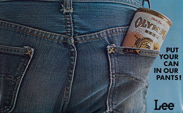 Lee Jeans Olympia Beer Put Your Can in Our Pants Original American Advertising Poster