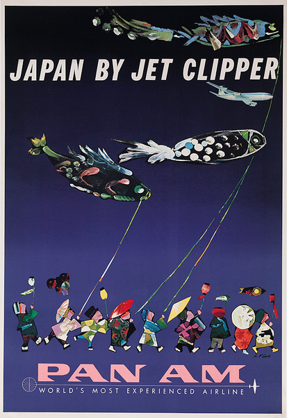 Japan By Jet Clipper Original Pan Am Travel Poster Fish Kites
