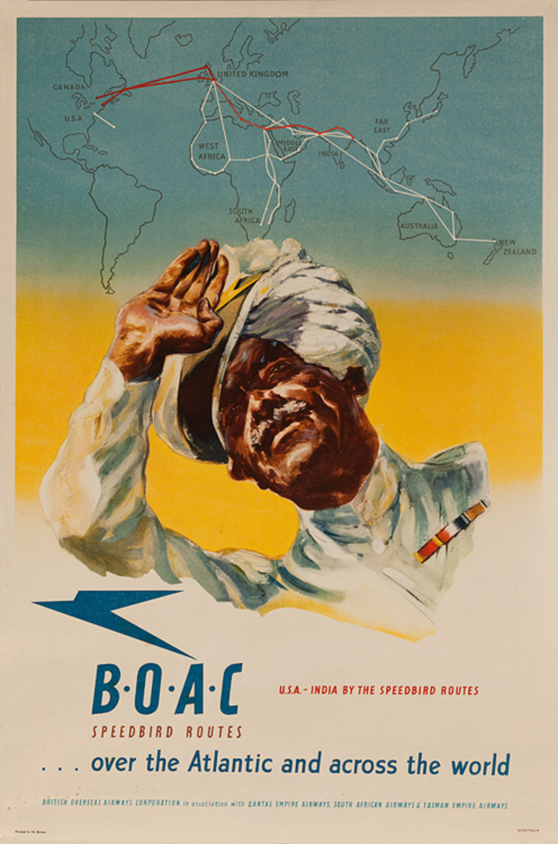 BOAC Speedbird Routes Over the Atlantic and Across the World Original Airline Travel Poster