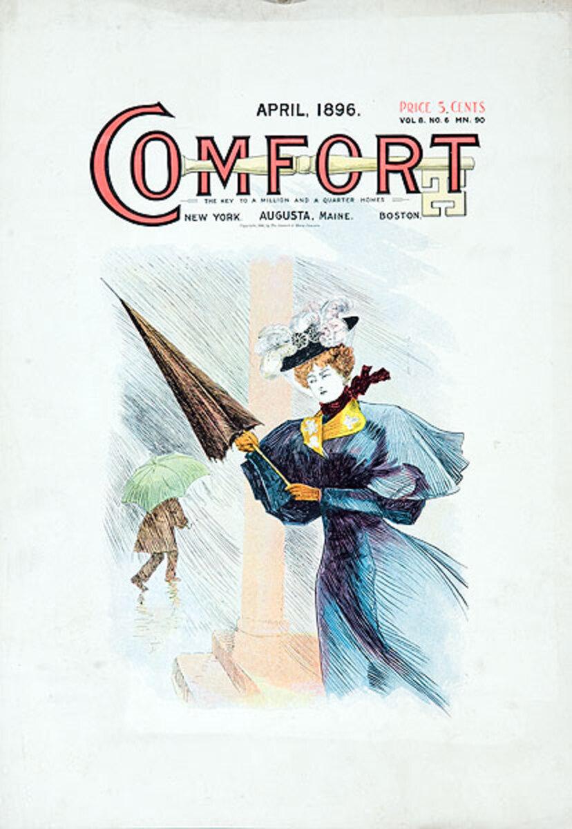 Comfort Magazine April 1896 Original American Literary Poster