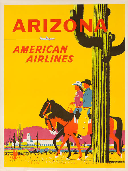 Arizona American Airlines Original Travel Poster Cowboy Couple