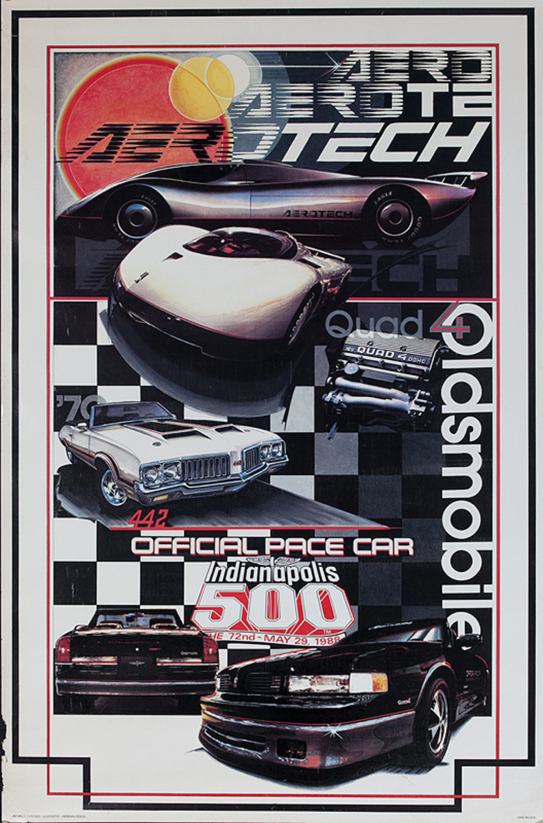 Aerotech Oldsmobile Indianapolos 500 1988 Pace Car Original Poster