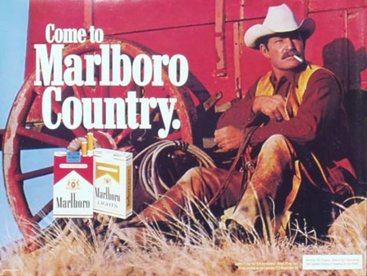 Marlboro Cigarette Cowboy Come To Marlboro Counrty Original Vintage Advertising Poster