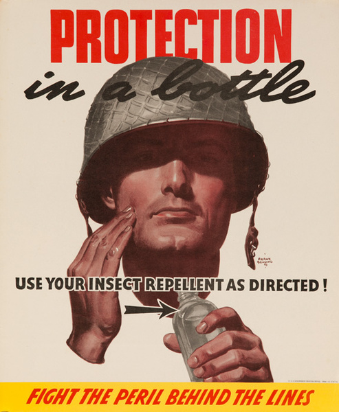 Protection In A Bottle Original American WWII Malaria Health Poster