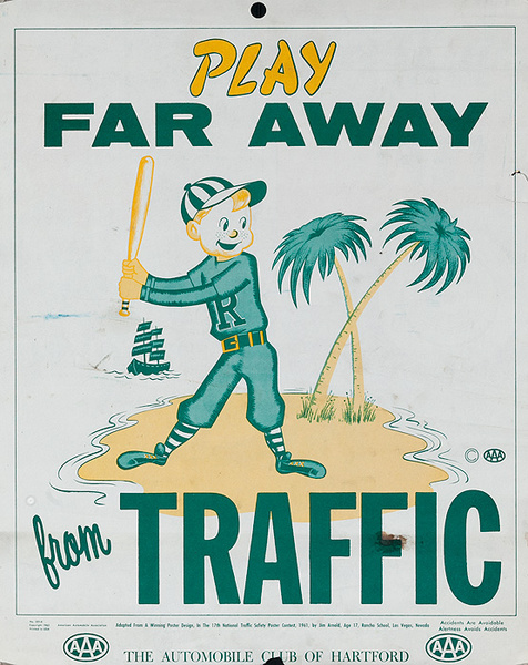 Play Far Away From Traffic, Original AAA Auto Safety Poster
