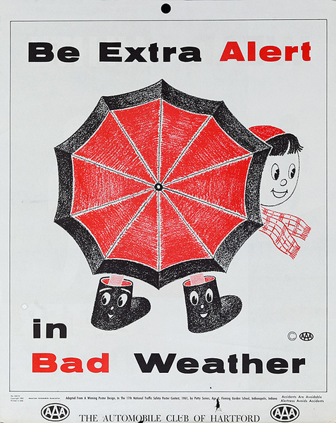 Be Extra Alert in Bad Weather, Original AAA Auto Safety Poster, The Automobile Club of Hartford