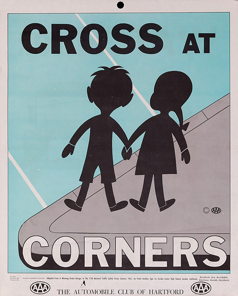 Cross at Corners Original AAA Auto Safety Poster