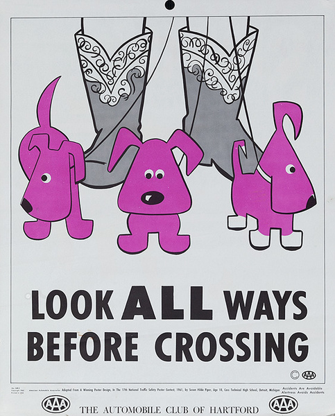 Look all Ways Before Crossing Original AAA Auto Safety Poster, The Automobile Club of Hartford