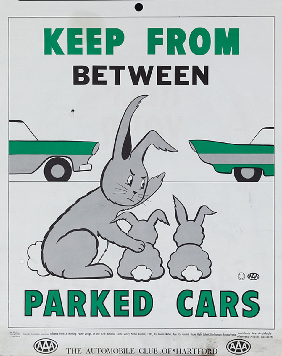 Keep From Between Parked Cars, Original AAA Auto Safety Poster, The Automobile Club of Hartford