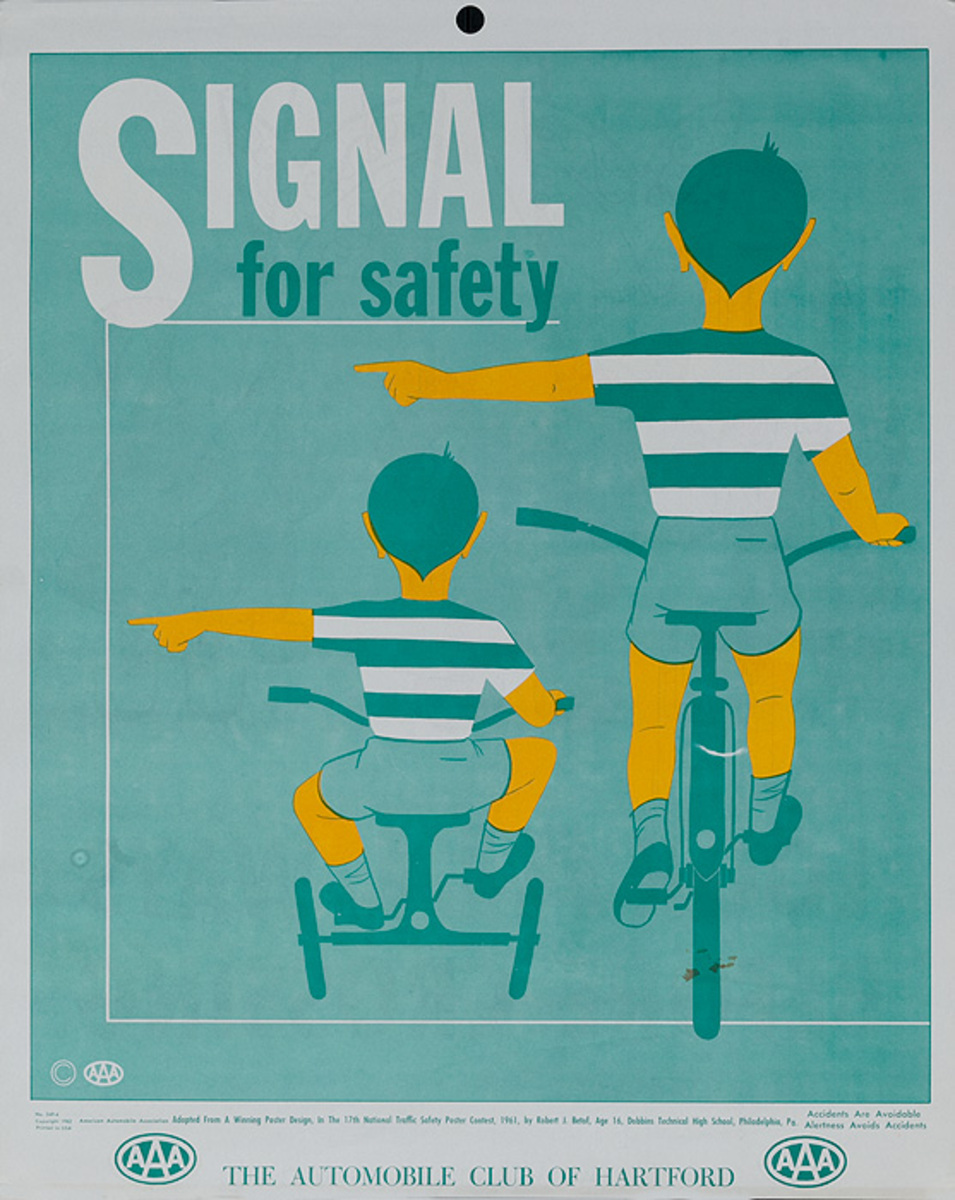 Signal for Safety Original AAA Auto Safety Poster, The Automobile Club of Hartford