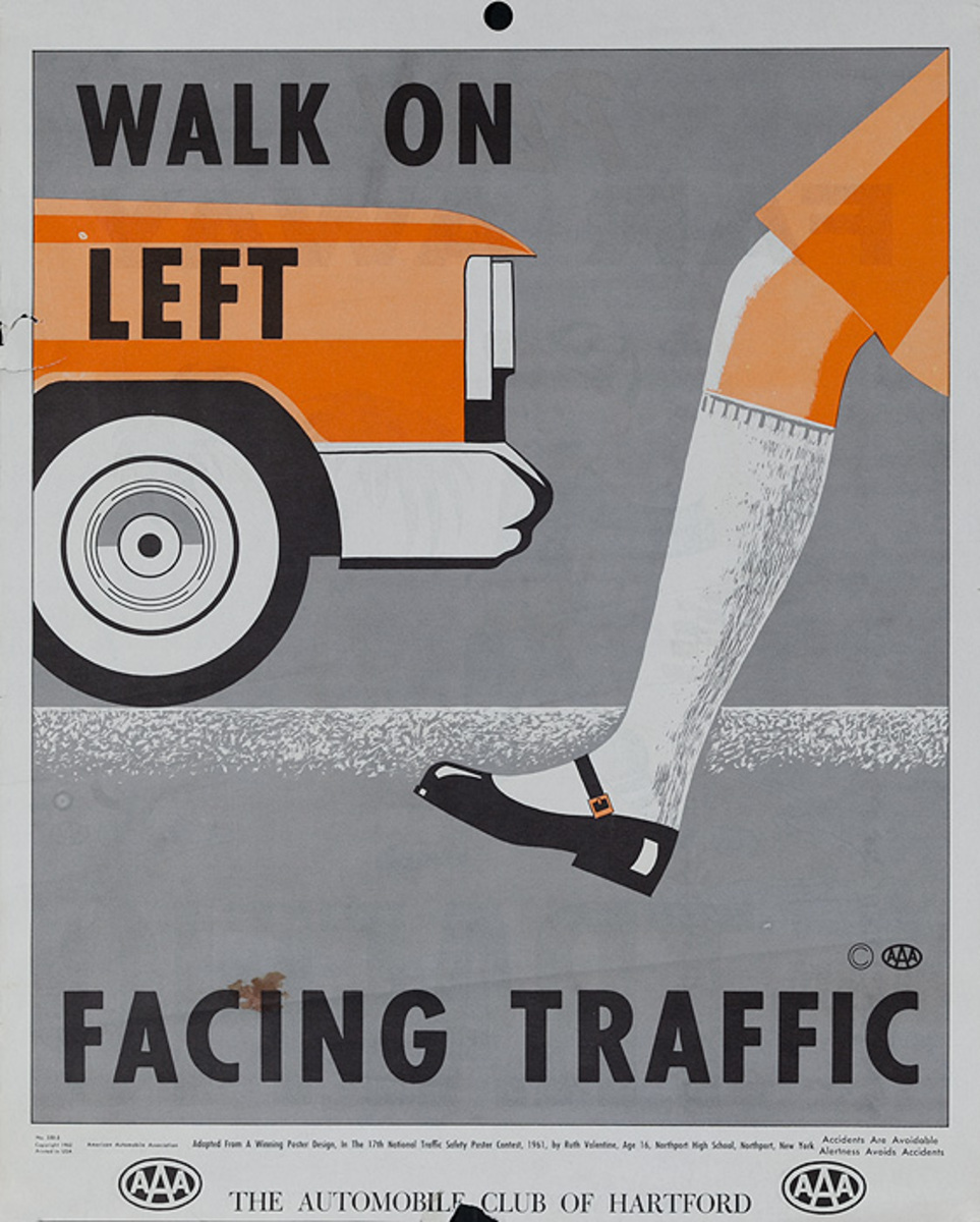 Walk on Left Facing Traffic, Original AAA Auto Safety Poster, The Automobile Club of Hartford