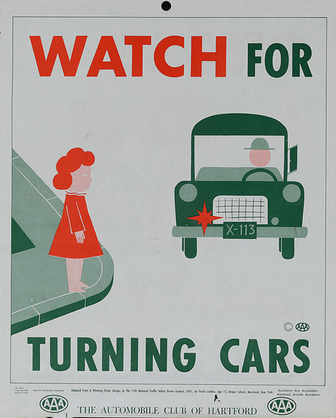 Watch for Turning Cars, Original AAA Auto Safety Poster, The Automobile Club of Hartford