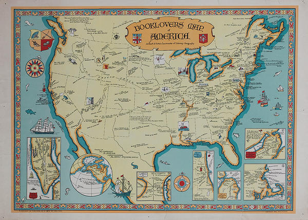Book Lovers Map of America Original Map of Historic Literary Destinations