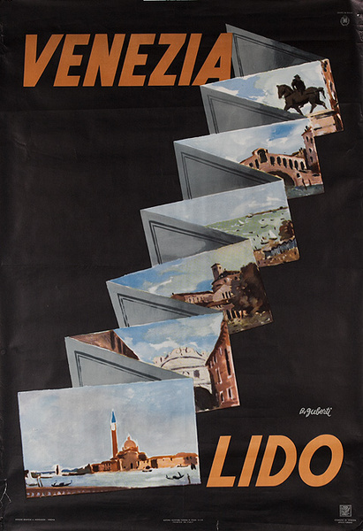 Venezia Lido Original Venice Italy Travel Poster Postcards