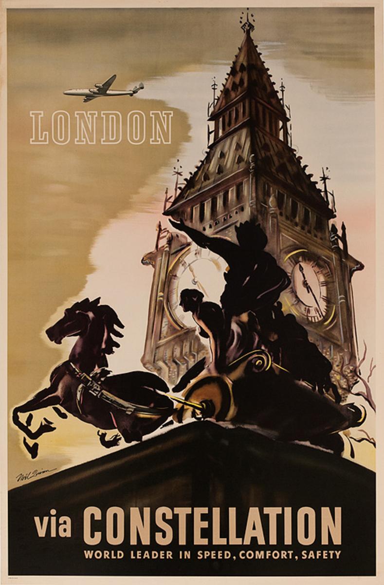 London Via Constellation World Leader in Speed, Comfort, Safety Original Travel Poster