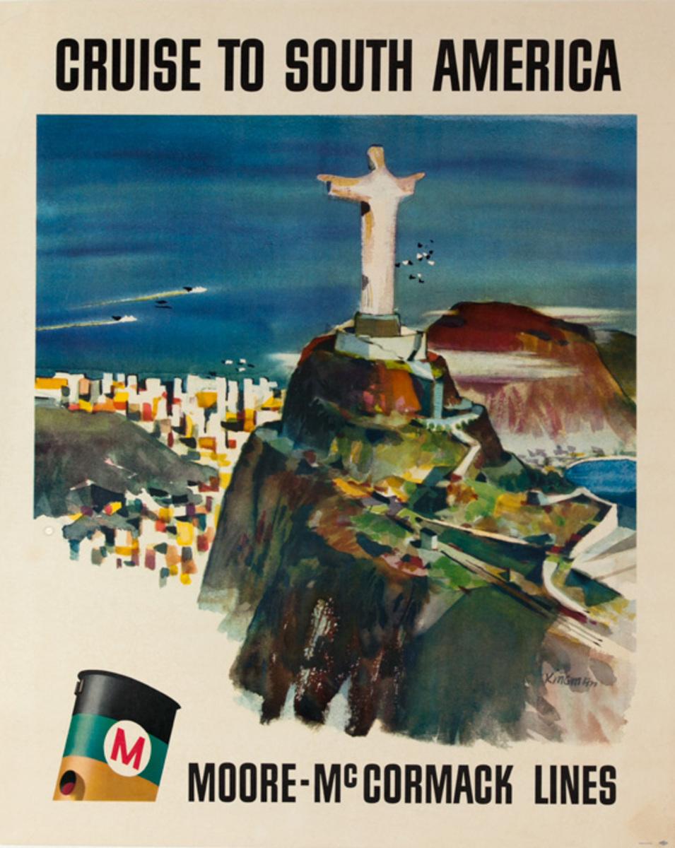 Cruise to South America Moore - McCormack Lines Original Travel Poster Rio de Janeiro Statue