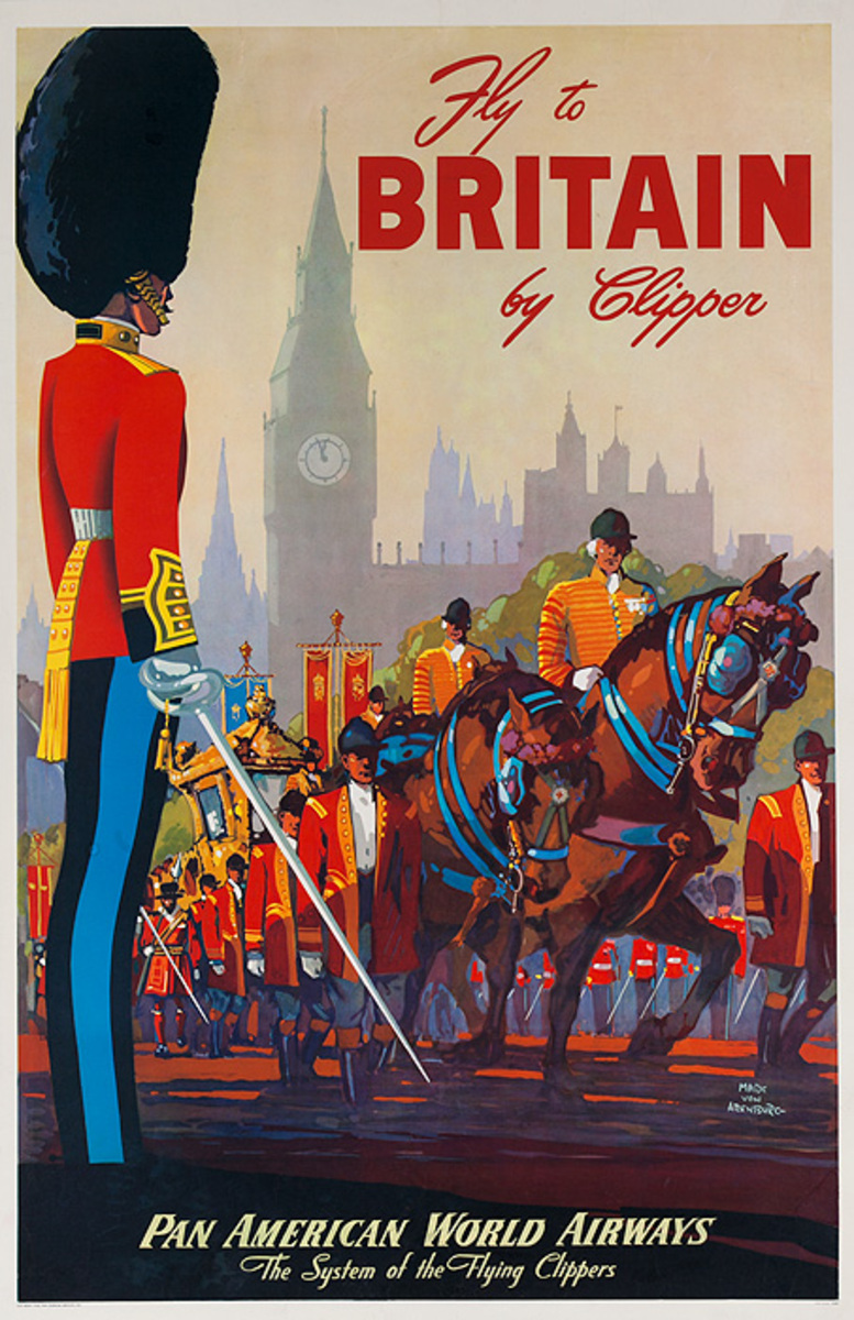 Fly to Britain by Clipper Original Pan American World Airways Travel Poster