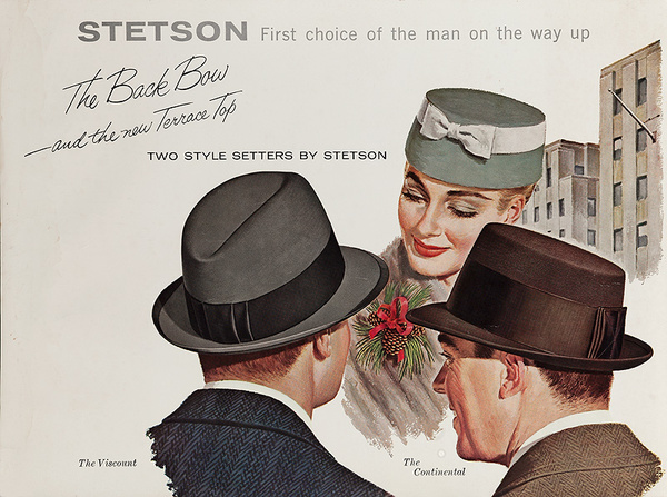 Stetson, The Back Bow and the New Terrace Top Original American Advertsiing Poster
