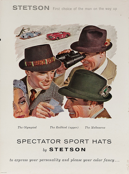 Stetson Spectator Sports Hats Original American Advertising Poster