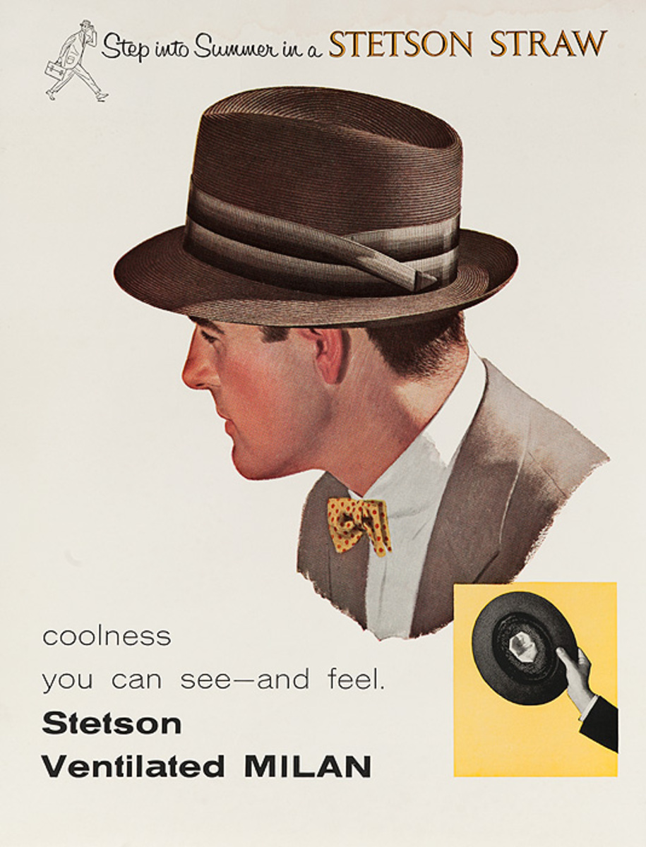 Step into Summer in a Stetson Straw Original American Hat Advertising Poster