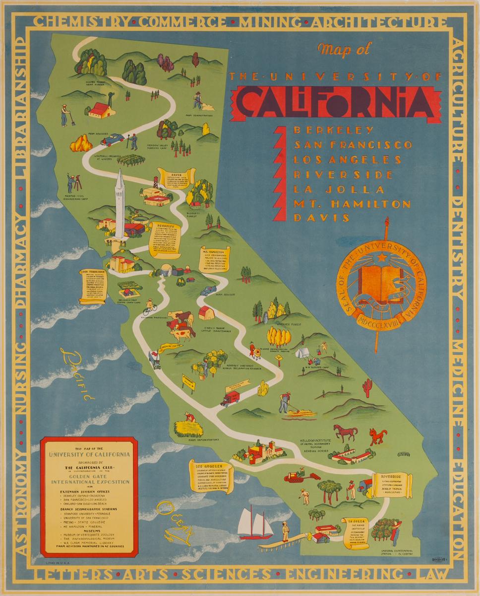 Map of the University of California Original Souvenir Poster