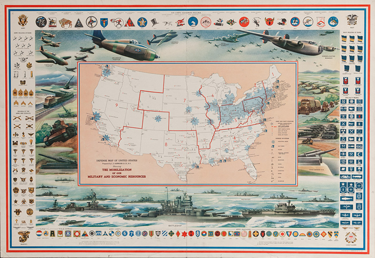 Defense Map of the United States Original WWI Map Poster