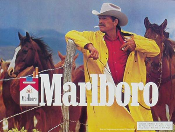 Marlboro Cigarette Cowboy Original Vintage Advertising Poster yellow slicker horizontal