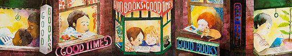 Good Books Good Times Original Childrens Reading Poster