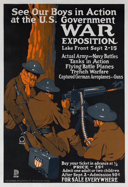 See Our Boys in Action at the US Government War Exposition Original American WWI Poster