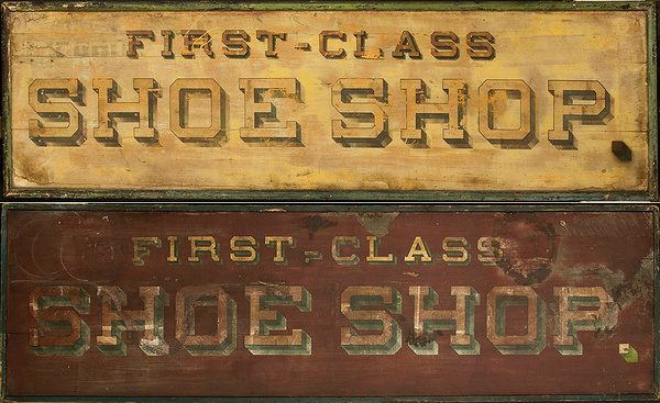 2 Sided Painted Trade Sign First Class Shoe Shop