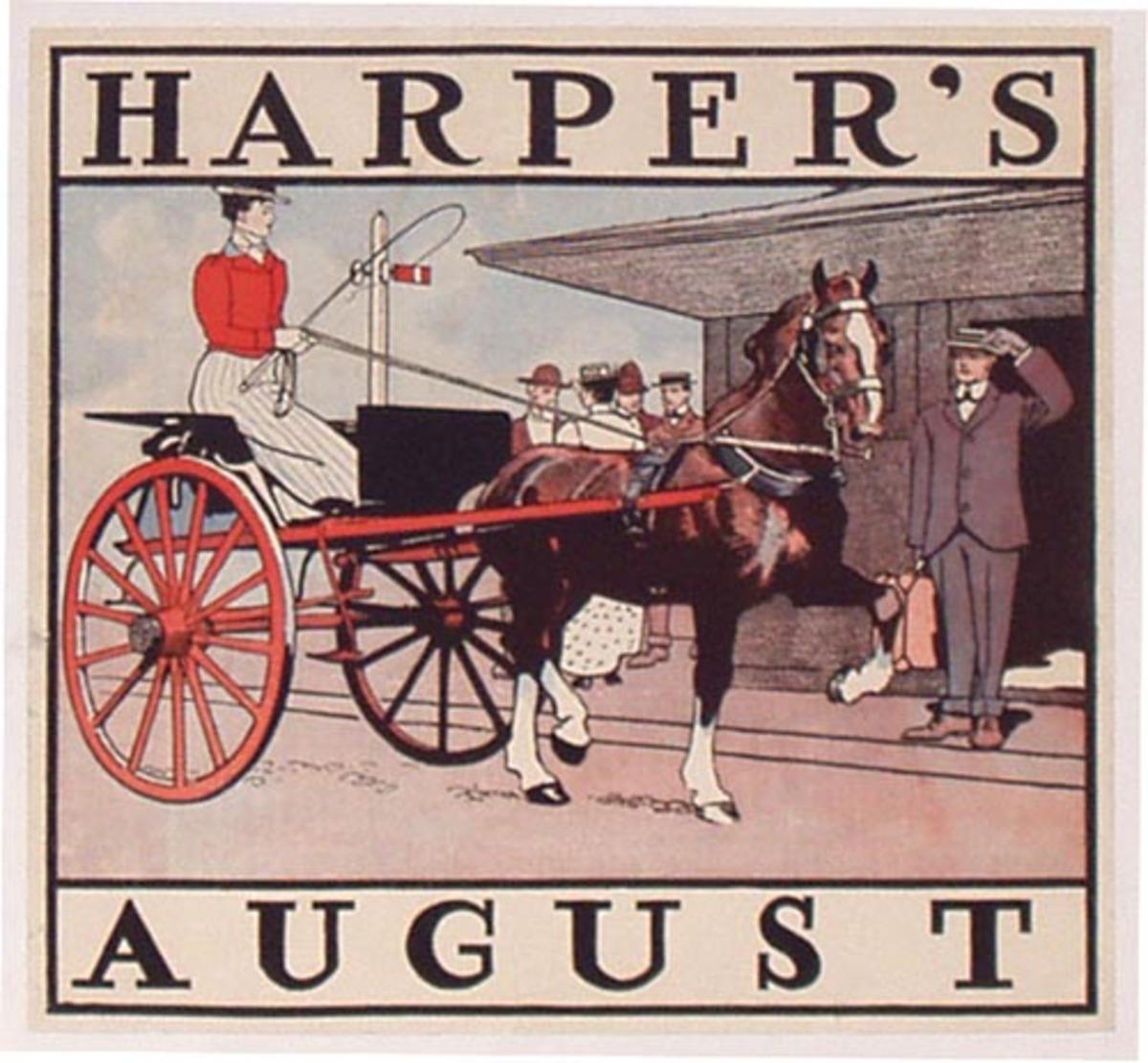 Harper's Magazine August 1899 Railroad Station Original Vintage Literary Poster