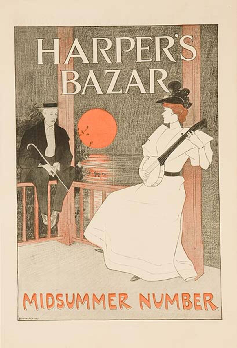 Harper's Bazar Midsummer Number Original Magazine Cover