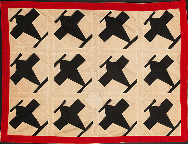 Folk Art Airplane Childs Quilt Blanket