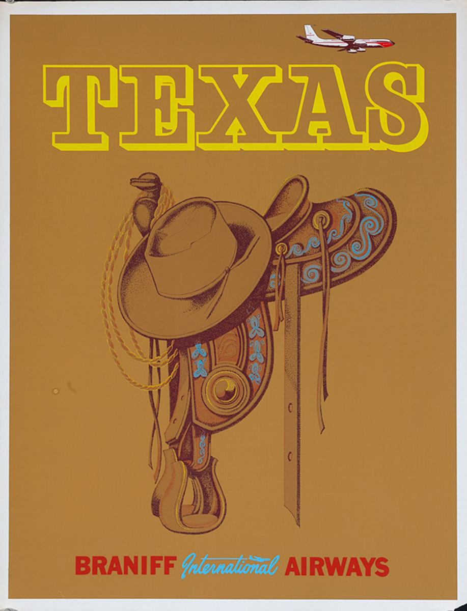 Braniff Airways Texas Saddle Original Travel Poster
