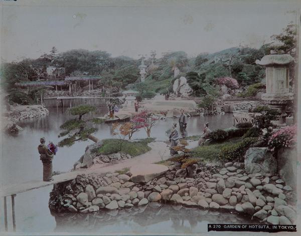 Meiji Era Hand Colored Japanese Albumen Photograph A 270 Garden of Hotsuta in Tokyo